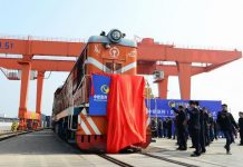 China launches first train service to travel all the way to Britain carrying socks to east London