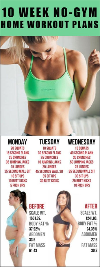 10 WEEK NO-GYM HOME WORKOUT PLANS