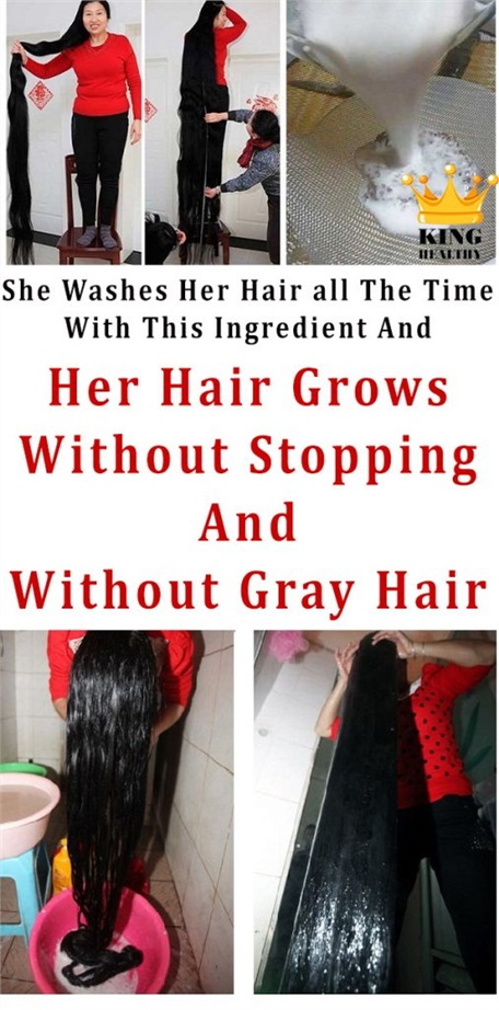 She Washes Her Hair all The Time With This Ingredient And Her Hair Grows Without Stopping And Without Gray Hair Like Crazy